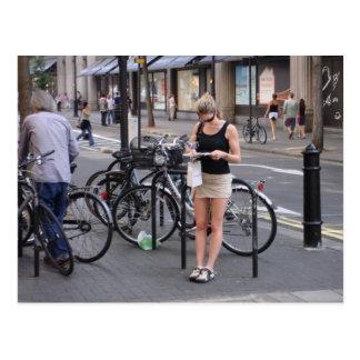 Bicycle a miniskirt postcard