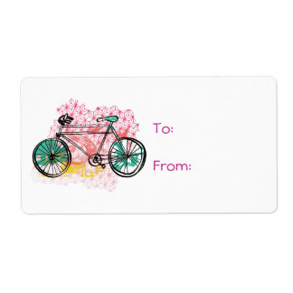 Bicycle and Floral Background Shipping Label