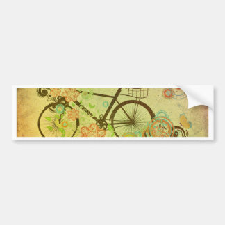 Bicycle and Floral Ornament Grunge 2 Bumper Sticker