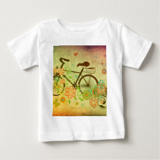 Bicycle and Floral Ornament Grunge 2 T Shirt