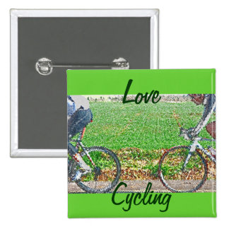 Bicycle Art, 2 Cyclists and Green Background 15 Cm Square Badge