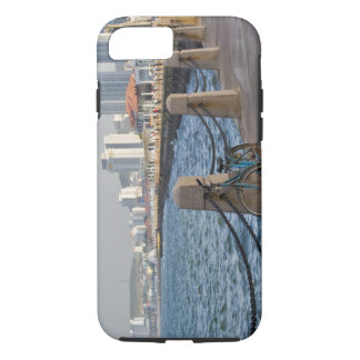 Bicycle at waterfront with Yantai city skyline, iPhone 8/7 Case