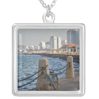 Bicycle at waterfront with Yantai city skyline, Silver Plated Necklace