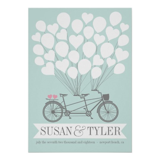 Bicycle Balloon Wedding Poster - CHOOSE YOUR COLOR