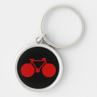 bicycle . black red biker key Silver-Colored round key ring