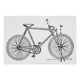 Bicycle blueprints art posters framed artwork zazzle bicycle blueprint poster malvernweather Images