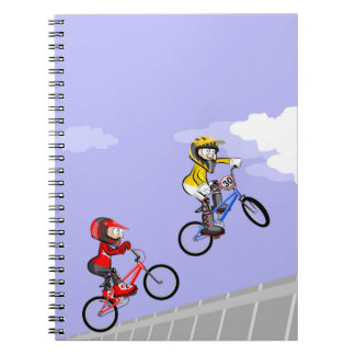 Bicycle BMX jumping by the air of a two Notebook