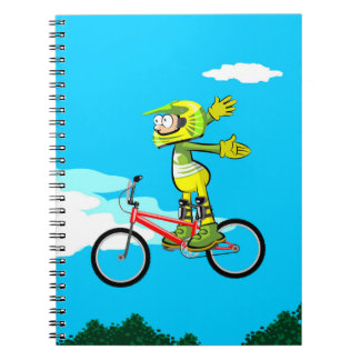 Bicycle BMX stopped in the air and without taking Notebook