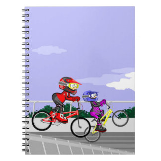Bicycle BMX two competitors in action Notebook