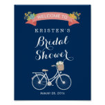 Bicycle Bridal Shower Sign Navy Blue Coral Pink