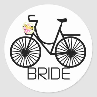 Bicycle Bride Tshirts and Gifts Round Sticker