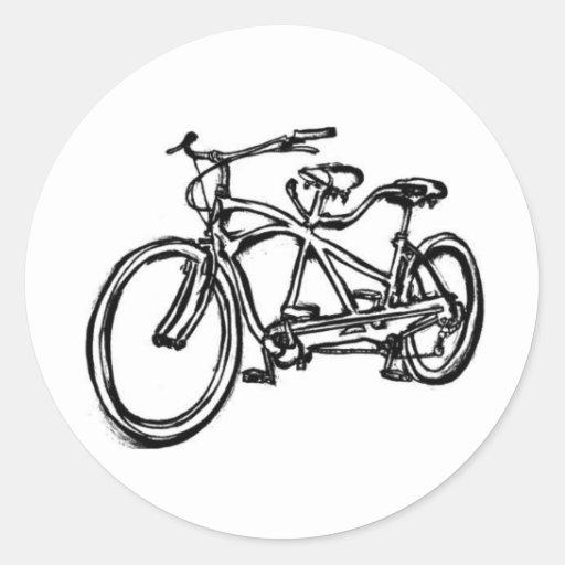 Bicycle built for 2 (antique schwinn tandem) bike round stickers