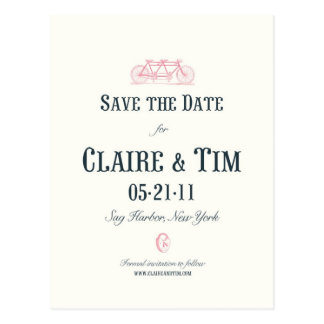 Bicycle Built For Two Save the Date-Custom Postcard