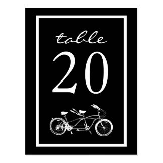 Bicycle Built For Two Table Numbers (Black) Post Cards