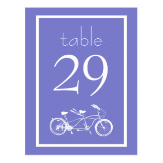 Bicycle Built For Two Table Numbers (Plum Purple) Postcard