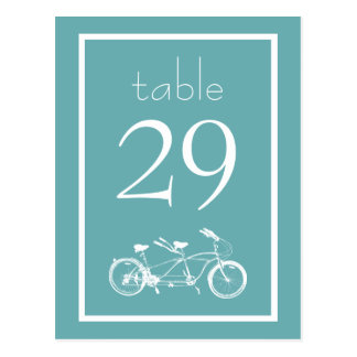 Bicycle Built For Two Table Numbers (Sea Foam) Postcard