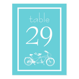 Bicycle Built For Two Table Numbers (Teal) Postcard