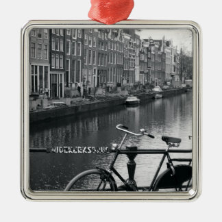 Bicycle by Canal Christmas Ornament