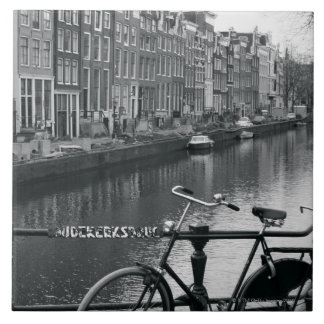 Bicycle by Canal Large Square Tile