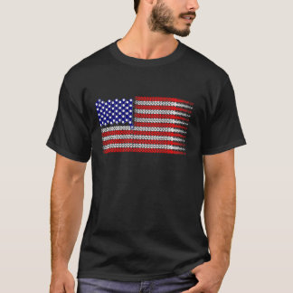 Bicycle Chain Flag USA T-Shirt