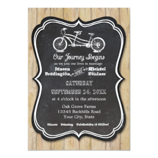 Bicycle Chalkboard Style Rustic Country Typography 13 Cm X 18 Cm Invitation Card