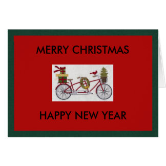 Bicycle Christmas and New Year greeting card
