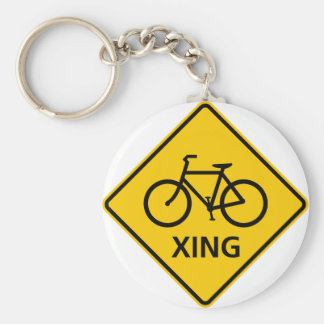 Bicycle Crossing Highway Sign Key Ring