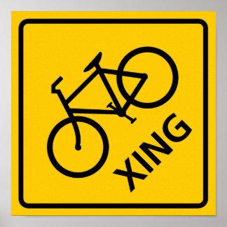 Bicycle Crossing Highway Sign Print