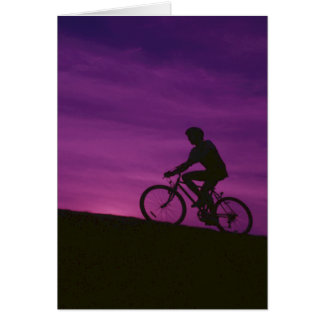 Bicycle Cycle Bicycling Cycling Purple Sunset Card