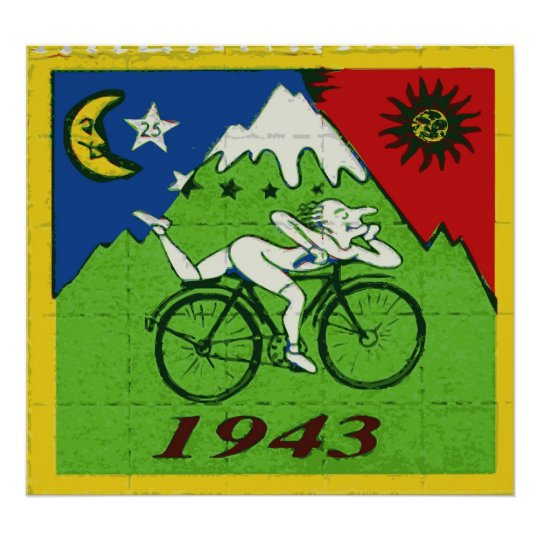 """Bicycle Day Celebration Blotter"" Poster"