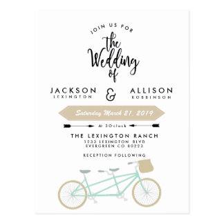 Bicycle Duo Wedding Invite Postcard