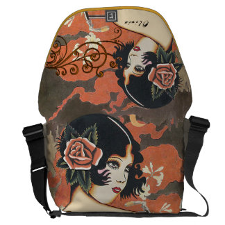 Bicycle Fall Colors Earth Tones Vintage Girl Courier Bags
