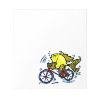 BICYCLE FISH funny Sparky cartoon gift Notepad