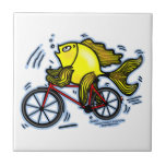 BICYCLE FISH funny Sparky cartoon gift Tile