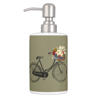bicycle flower bike olive  Toothbrush  Soap Set