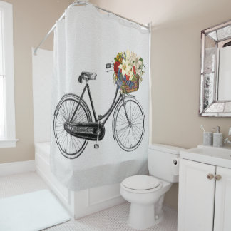 bicycle  flower  bike Shower curtain