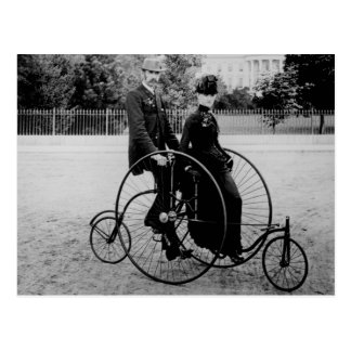 Bicycle for Two at the White House 1886 Postcard