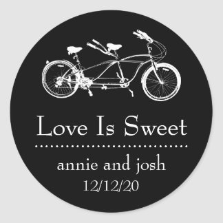 Bicycle For Two Love Is Sweet Labels (Black) Round Sticker