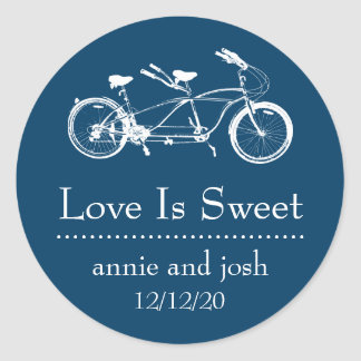 Bicycle For Two Love Is Sweet Labels (Navy Blue)