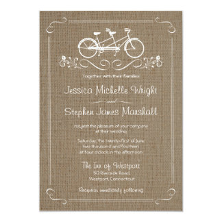 Bicycle for Two Natural Burlap Wedding Invitations
