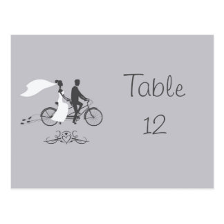 Bicycle For Two Wedding Table Number Card Postcard