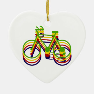 Bicycle Graphics Ceramic Heart Decoration