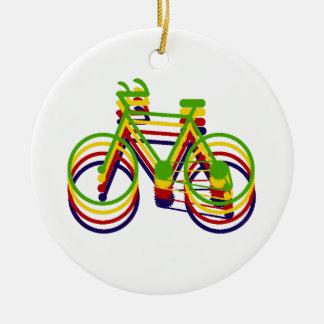 Bicycle Graphics Round Ceramic Decoration