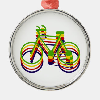Bicycle Graphics Silver-Colored Round Decoration