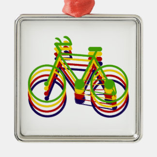 Bicycle Graphics Silver-Colored Square Decoration