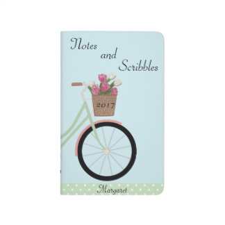 Bicycle Green Pink Basket Flowers Balloon Journal
