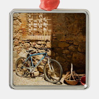 Bicycle in front of a wall, Monteriggioni, Siena Christmas Ornament