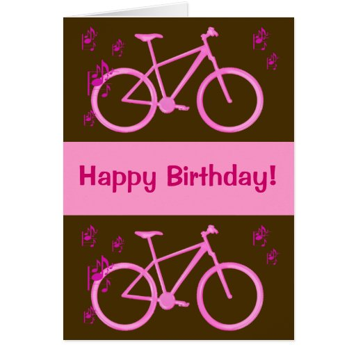 Bicycle in pink happy birthday card.