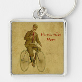 Bicycle Key to the Past with Vintage Cyclist Silver-Colored Square Key Ring