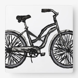 Bicycle Line Drawing Clock. Pick your color! Square Wall Clock
